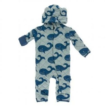Kickee Pants Oceanography Collection Print Quilted Hoodie Coverall with Sherpa-Lined Hood