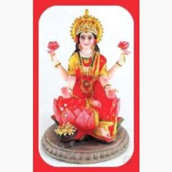 Laxmi on Lotus Statue - Goddess of Prosperity, Luck, Beauty, Courage & Fertility