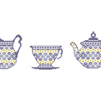 Coffee time  -  A set of three cross stitch patterns of Teapot, Teacup and Cream Jug in PDF - INSTANT DOWNLOAD