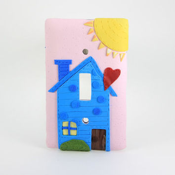 Happy House in the Sun, Light Switch Cover, Pink Switch Cover, Decorative Switch Covers, Gift,  Wall Plates, Custom Light Switch Covers, Sun