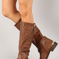 Lug-35HI Buckle Zipper Riding Knee High Boot