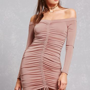 Ruched Satin Bodycon Dress