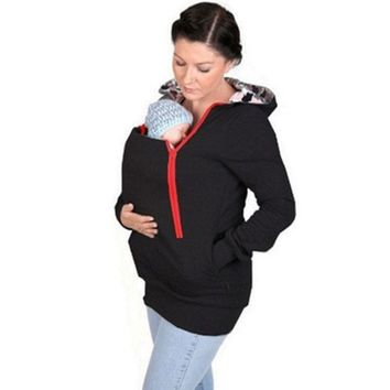 Winter Thickened Hooded Baby Carrier Coat Maternity Hoodies Kangaroo Jacket For Pregnant Women Outerwear Pregnancy Sweatshirts