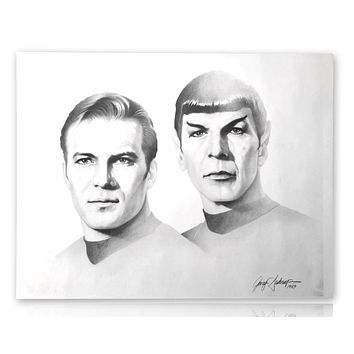 STAR TREK 20X24 LITHOGRAPH BY ARTIST GARY SADERUP SIGNED POSTER PHOTO KIRK SPOCK