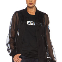 BLK DNM | Sheer Organza Bomber with Leather Pocket in Black www.fwrd.com