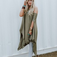 The Wren Oversized Tunic Top - Olive