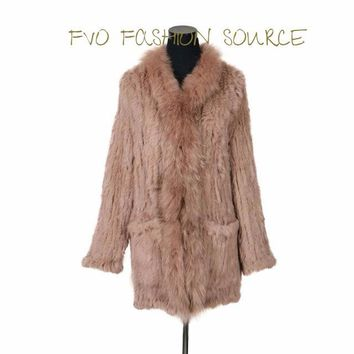 Cozy Chic  knitted  Silver Fox & Rabbit fur  Blend Jacket !!!