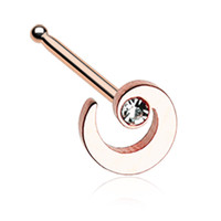 Rose Gold Color Spiral Swirl Sparkle Nose Stud Ring - 20 G - Sold as a Pair