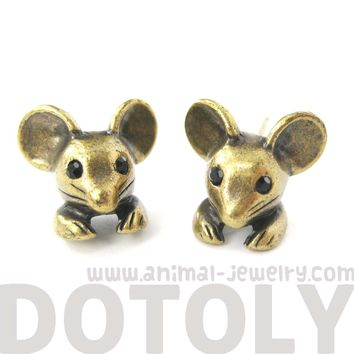 Mouse Mice Realistic Animal Stud Earrings in Brass | Animal Jewelry