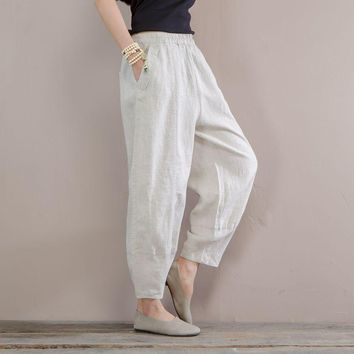Women Summer Linen Pants Elastic Waist Solid Color beige Pants For Female Casual Ladies Vintage Trousers