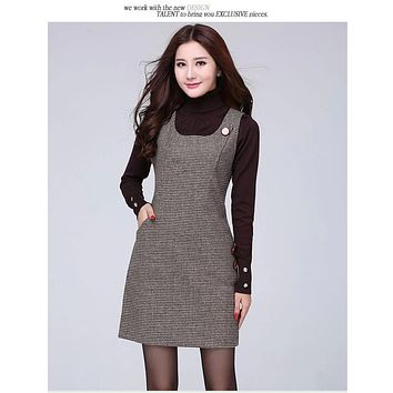 2017 autumn and winter section of the end of the waistcoat plaid vest dress wool sleeveless in the long vest large