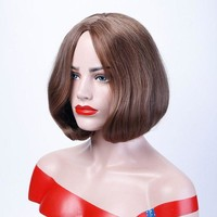 ONETOW 12'' Brown Bob Wig Short Synthetic Wigs For African Americans