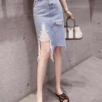 Fashion Casual Worn Ripped Knotted Tassel Frills High Waist Denim Skirt