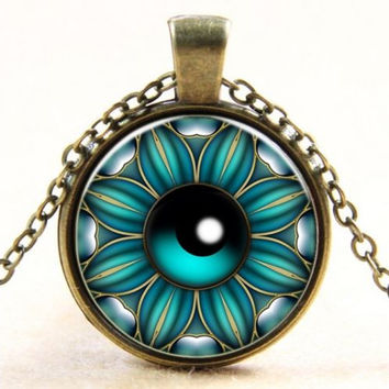 Eyeball Flower Blue Pendant Necklace
