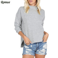 ROMWE Casual Sweaters For Ladies Autumn Grey Mock Neck Drop Shoulder Long Sleeve Side Slit Loose Pullover Sweater