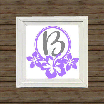 HIBISCUS FLOWER MONOGRAM vinyl decal * wall decal * monogram on canvas * block script monogram * vine script monogram * names * initial