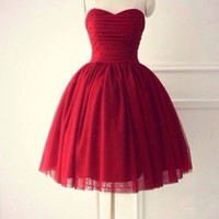 Handmade Red Homecoming Dress,Strapless Chiffon Homecoming Dresses