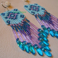 Native American Style Brickstitched Baby Blue earrings