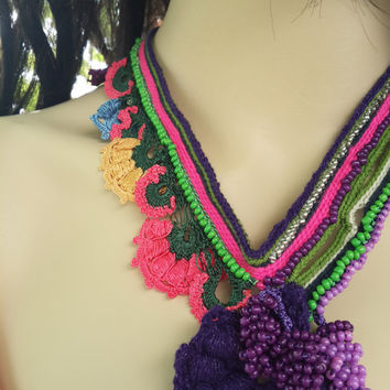 Crochet Necklace in Rainbow Colors
