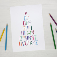 Kids room decor alphabet poster colorful letters print typography nursery decor teachers gift
