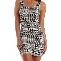 Black/White Tribal Print Bodycon Tank Dress by Charlotte Russe