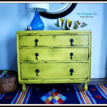 Petite Antique Dresser Distressed in Yellow