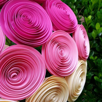 26 Pink Ombre Paper Flowers - Handmade  Paper Flowers for Brides, Weddings, Showers, Birthdays