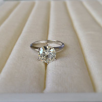 8mm Charles & Colvard Forever Brilliant Moissanite Round Solid Platinum 2 Carat 6 Prong Solitaire Ring