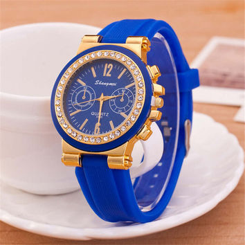 Womens Punk Style Silicone Jelly Strap Watch with Diamond Girls Fashion Casual Watches Best Christmas Gift