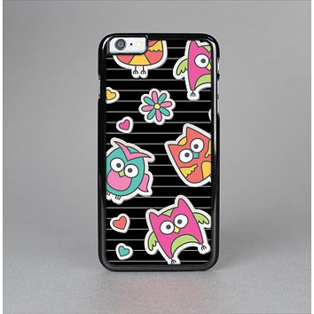 The Colored Cartoon Owl Cutouts on Paper Skin-Sert for the Apple iPhone 6 Skin-Sert Case