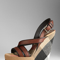 Canvas Check Platform Wedges