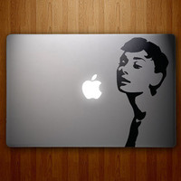 Audrey Hepburn Decal - Audrey Hepburn Sticker - Breakfast at Tiffany's - Vinyl MacBook Decal