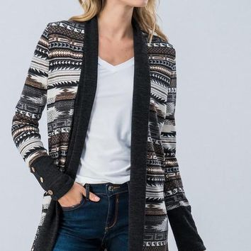Aztec Cardigan - Black