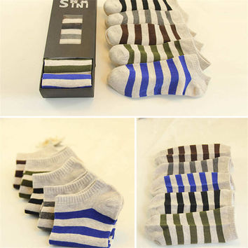 Fashion Boys Men Classic Casual Comfortable Sports Ankle Socks Best Gift (5 PCS) Socks-48