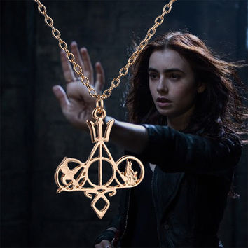 Movie Necklace Mix The Mortal Instruments Hunger Games City of Bones Divergent PercyJackson Harry Potter Necklace For Collection
