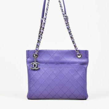 Chanel Purple Leather Wild Stitch Silver Toned Chain Small Shoulder Bag