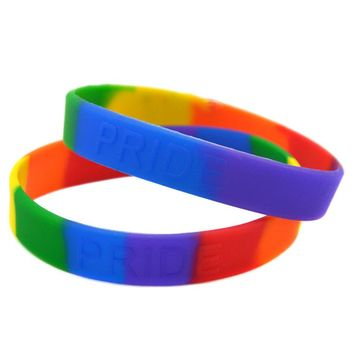 OneBandaHouse 50PCS/Lot Rainbow Colour Embossed Logo Pride Silicone Wristband Bracelet