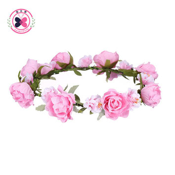 Haiemiakng  Fashion Women Bride Bridesmaid Flower Headband Bohemian Style Flower Crown Hairband Ladies Beach Hair Accessories