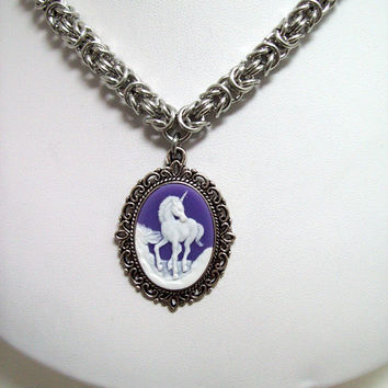 chainmaille, necklace, unicorn necklace, cameo necklace, cameo jewelry, gypsy, fairy tale necklace