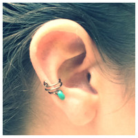 Bronze and Turquoise Ear Cuff