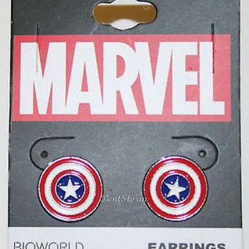 Licensed cool NEW Marvel Captain America Costume Shield Stud Earrings Jewelry red white blue
