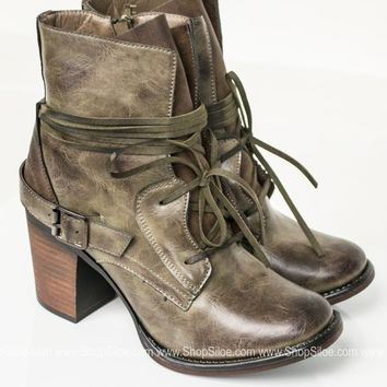 Grunge Distress Olive Booties