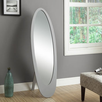 Grey Contemporary Oval Cheval Mirror