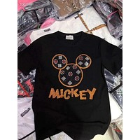 Woman Leisure Fashion Letter Mickey Drilling Hot Personality Printing Crew Neck Hedging T-Shirt Loose Short Sleeve Tops