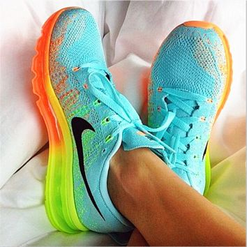 """NIKE"" Trending Fashion Casual Sports Shoes Gradient knit Mint green(Orange yellow sole)"