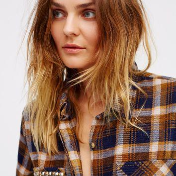 Free People Erin's Studded Plaid Shirt