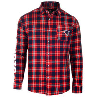 New England Patriots Wordmark Long Sleeve Flannel Shirt by Klew