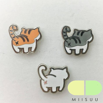Trio Cat Butt Enamel Pin