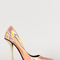 Iridescent Metallic Heel Pointy Toe Pump
