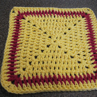 Crochet Sunny Yellow and Hot Pink Wash Cloth - Granny Square Cotton Dish Cloth
